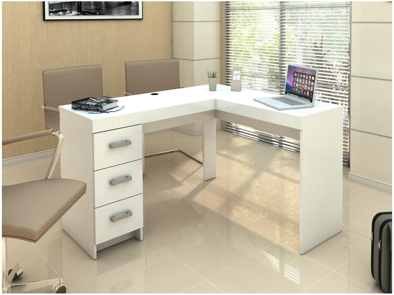 Mesa de Escritório Politorno Fênix com 3 Gavetas - Branco - 2