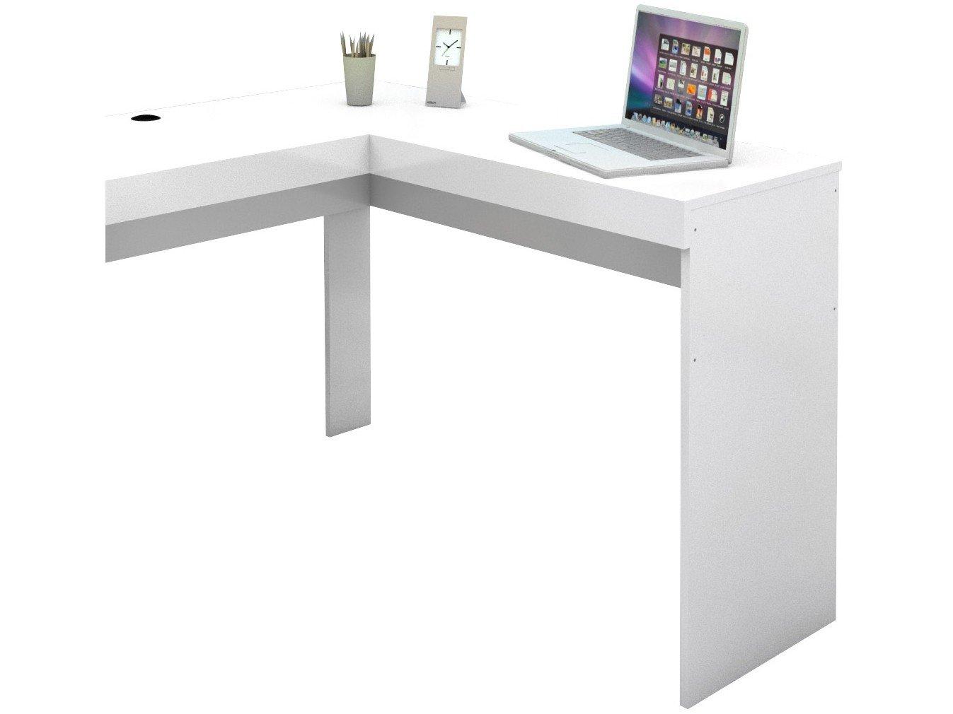 Mesa de Escritório Politorno Fênix com 3 Gavetas - Branco - 6