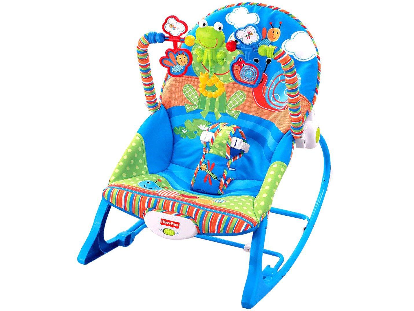 Cadeira de Descanso Vibratória Fisher-Price Crescendo Comigo Sapinho - 0 a 18kg - Azul - 7