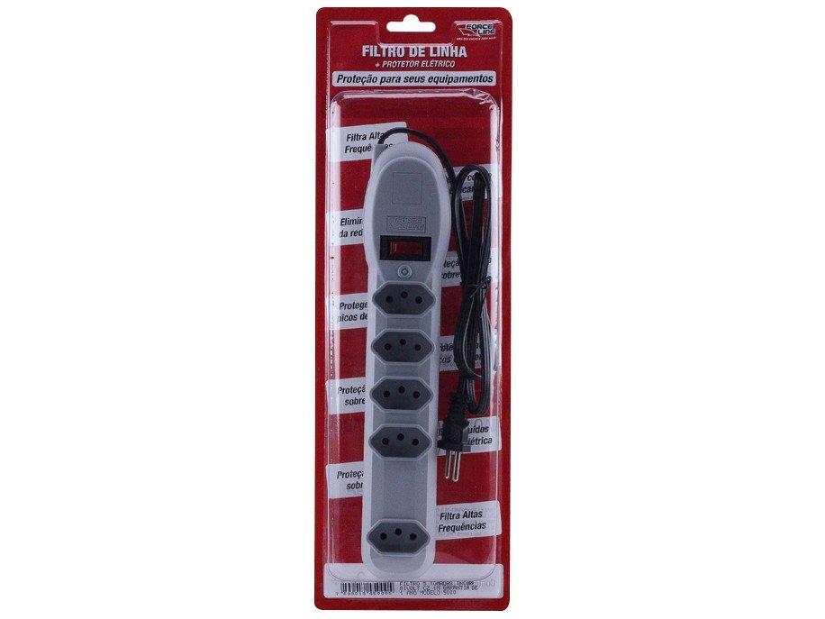 Foto 3 - Filtro de Linha 5 Tomadas Bivolt Force Line Slim - Com Protetor contra Surtos