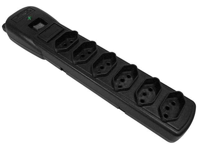 Foto 1 - Filtro de Linha 6 Tomadas Bivolt Force Line Slim - Com Protetor contra Surtos
