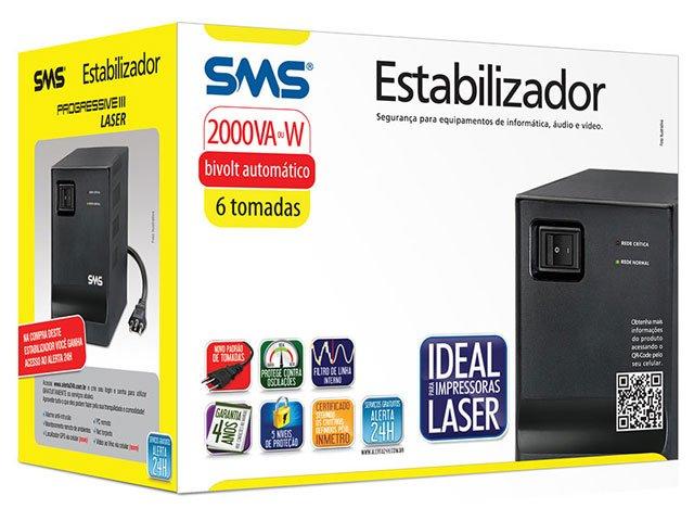 Foto 2 - Estabilizador 2000va 6 Tomadas Bivolt - SMS Progressive III Laser