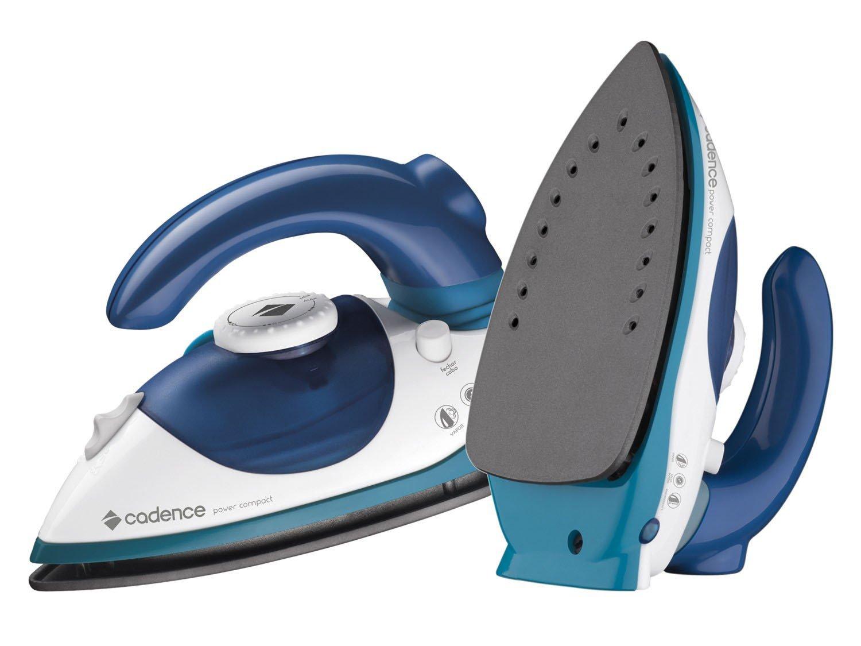 Ferro de Passar a Vapor Cadence Power Compact - Branco e Azul Base Antiderrapante - Bivolt