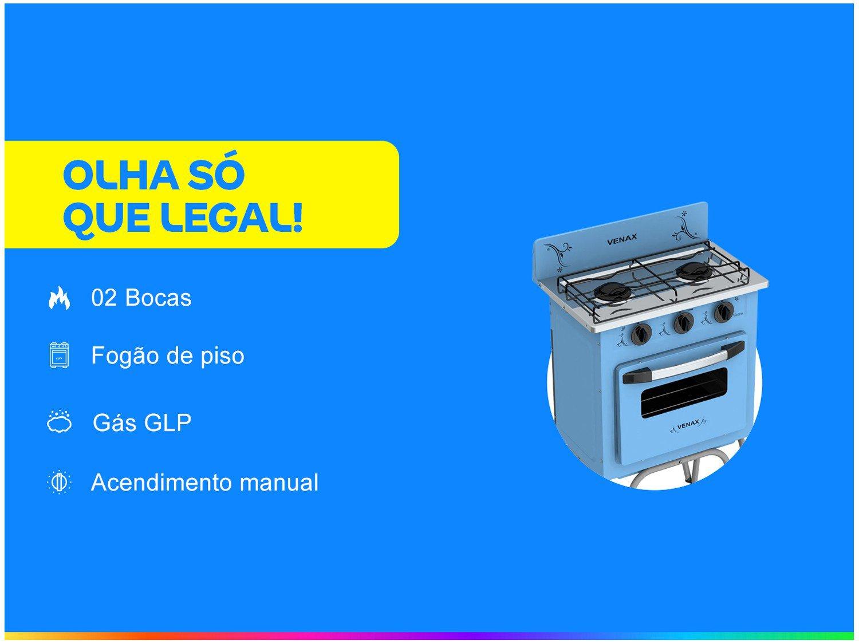 Foto 2 - Fogão 2 Bocas Venax Gemini Vetrô - Azul
