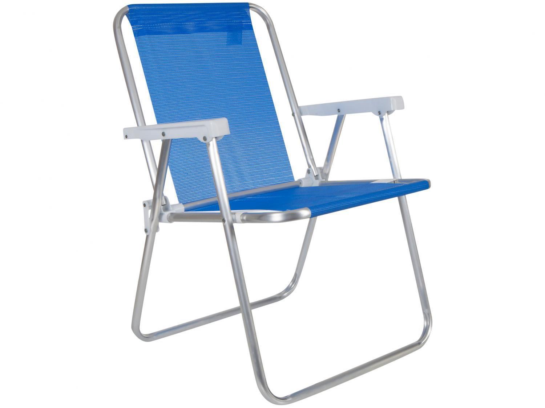 Cadeira Alta Dobrável Tela Sannet em Alumínio Mor - Azul