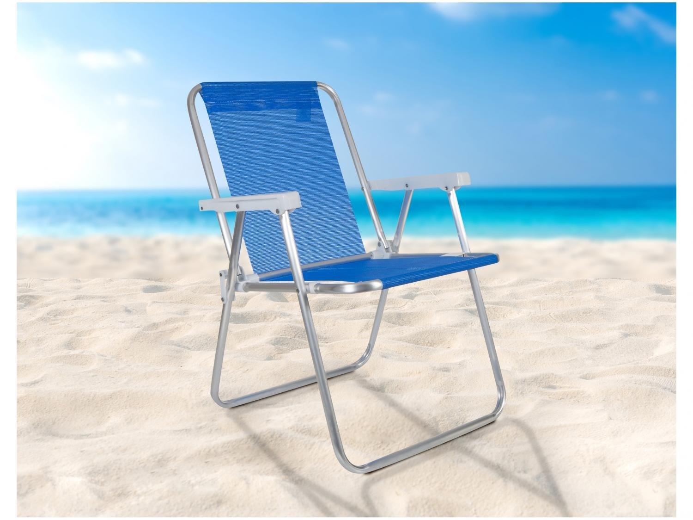 Cadeira Alta Dobrável Tela Sannet em Alumínio Mor - Azul - 4