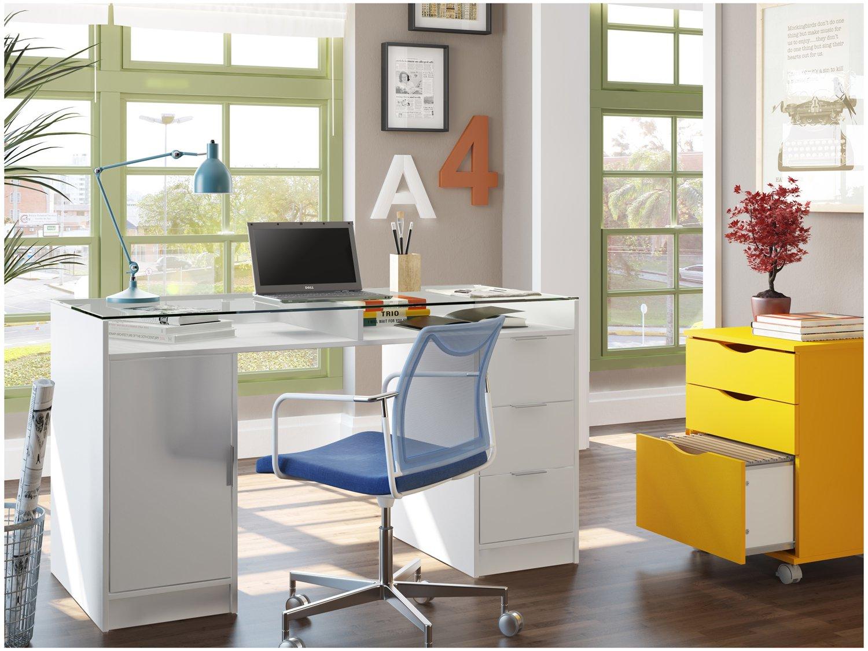 Foto 2 - Escrivaninha/Mesa para Computador 1 Porta - 3 Gavetas - Madesa Home Office Chicago