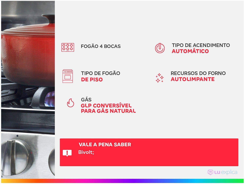 Foto 2 - Fogão 4 Bocas Consul CFO4NAR Inox - Acendimento Automático