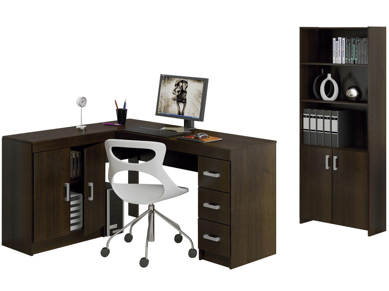 Foto 1 - Conjunto Caruaru 4 Portas 3 Gavetas Politorno - com Mesa para Computador/Escrivaninha e Estante