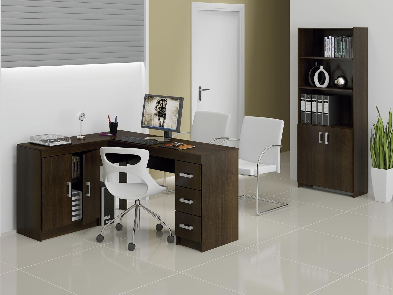 Foto 2 - Conjunto Caruaru 4 Portas 3 Gavetas Politorno - com Mesa para Computador/Escrivaninha e Estante
