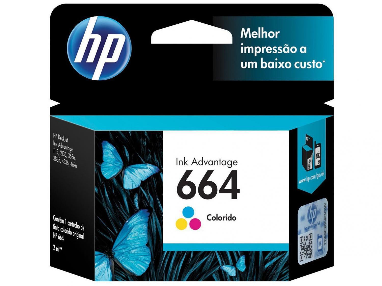 Foto 1 - Cartucho de Tinta HP Colorido 664 Original P/ - HP 2136 2676 3776 5076 5276