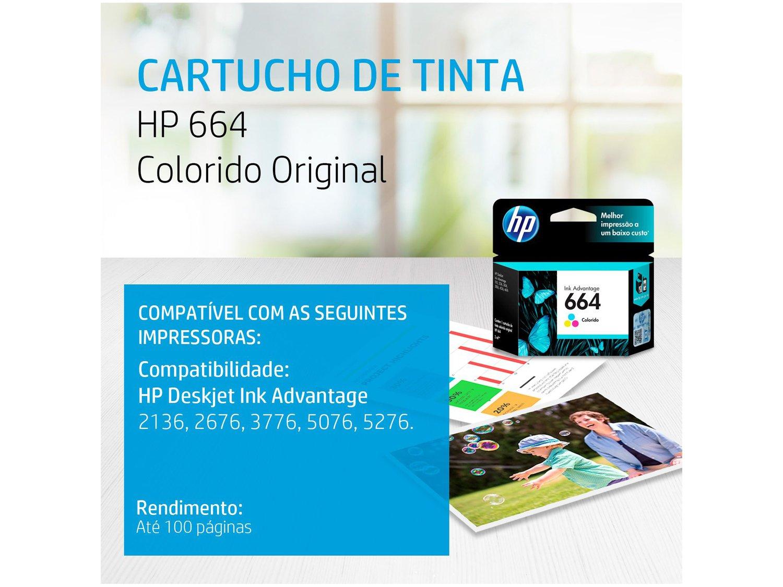 Foto 2 - Cartucho de Tinta HP Colorido 664 Original P/ - HP 2136 2676 3776 5076 5276
