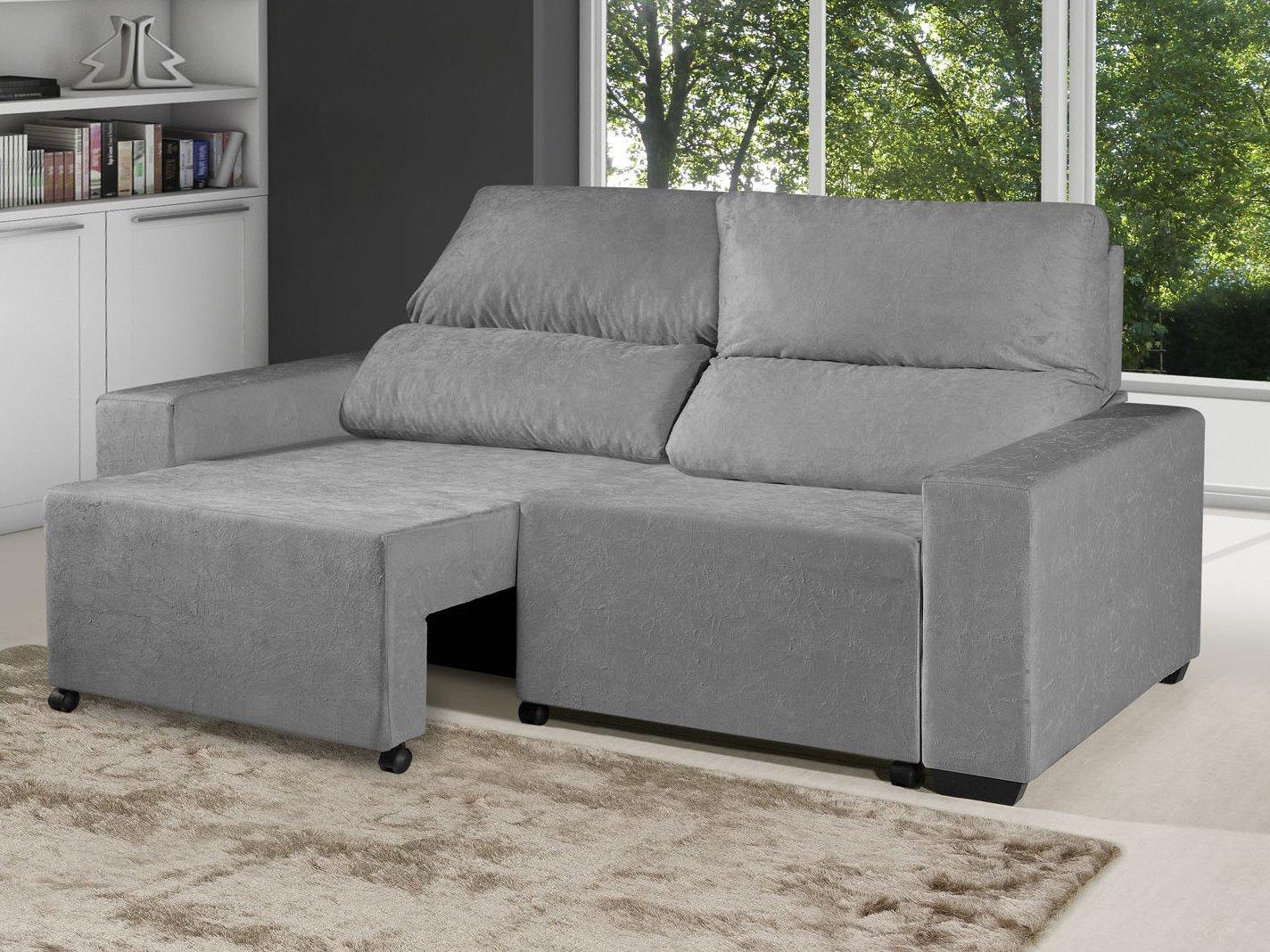 Foto 1 - Sofá Retrátil Reclinável 3 Lugares Suede Elegance - American Comfort