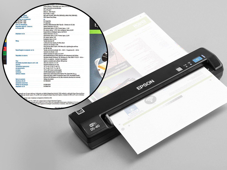 Foto 5 - Scanner Portátil Epson DS-40 Colorido - 600dpi com Conexão Wi-Fi USB