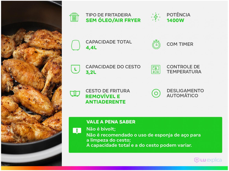 Fritadeira Sem Óleo Air Fryer Philco Saúde Inox PH3L 3,2 L - Preta - 110v - 4
