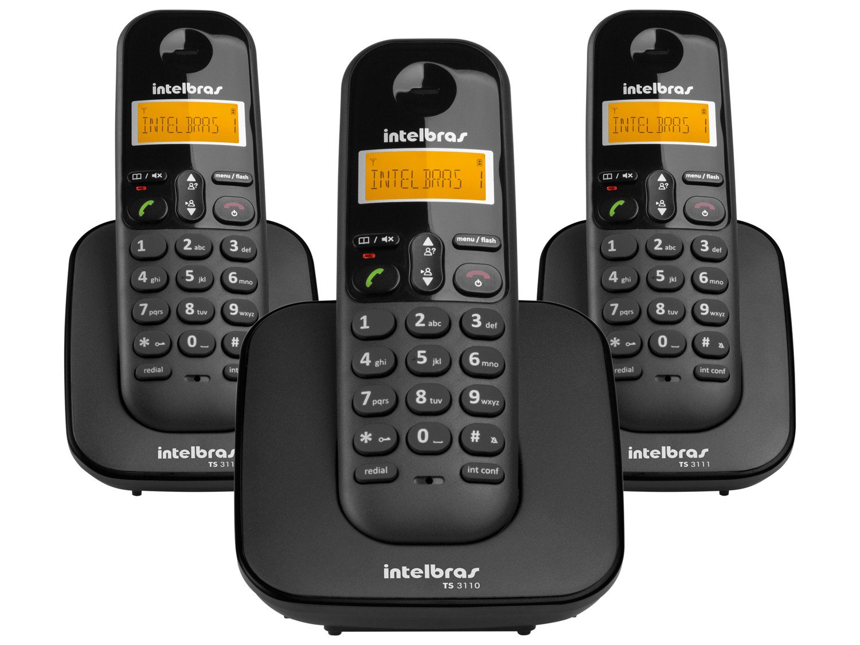 Telefone sem Fio Intelbras TS 3113 com Identificador de Chamada, Display luminoso e Tecnologia DECT 6.0 e 2 Ramais - Preto
