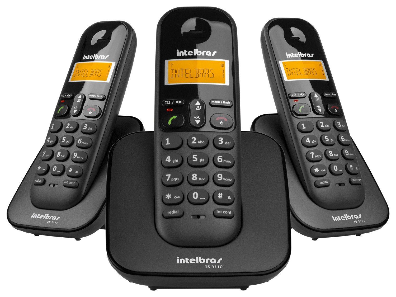 Telefone sem Fio Intelbras TS 3113 com Identificador de Chamada, Display luminoso e Tecnologia DECT 6.0 e 2 Ramais - Preto - 3