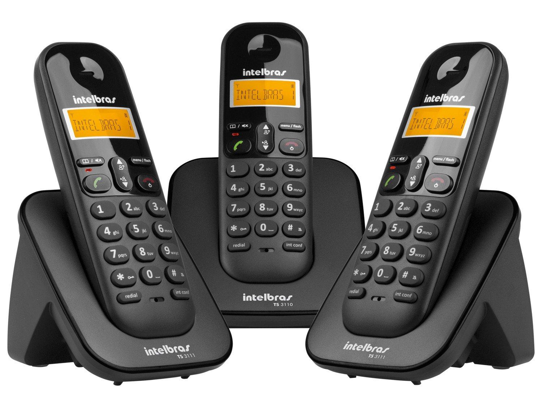 Telefone sem Fio Intelbras TS 3113 com Identificador de Chamada, Display luminoso e Tecnologia DECT 6.0 e 2 Ramais - Preto - 6