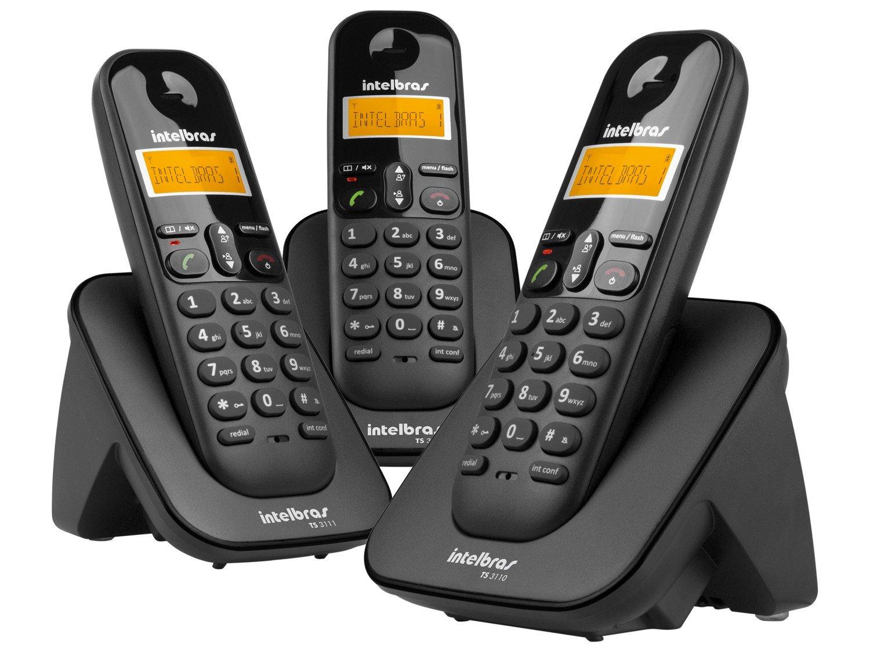 Telefone sem Fio Intelbras TS 3113 com Identificador de Chamada, Display luminoso e Tecnologia DECT 6.0 e 2 Ramais - Preto - 9
