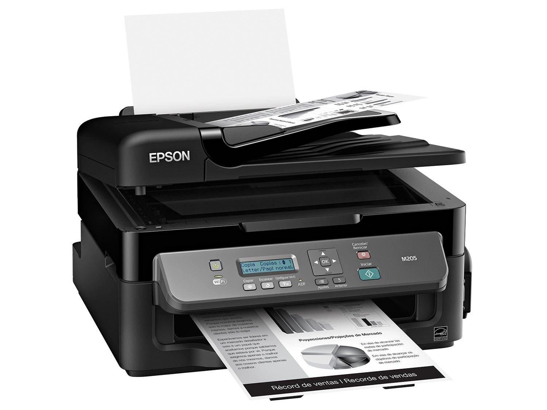 Foto 1 - Impressora Multifuncional Epson EcoTank M205 - Tanque de Tinta Wi-Fi Monocromática USB