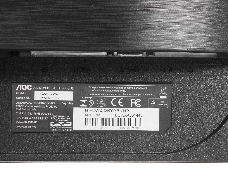 Foto 9 - Monitor Gamer Full HD AOC LED Widescreen 21,5 - Speed G2260VWQ6
