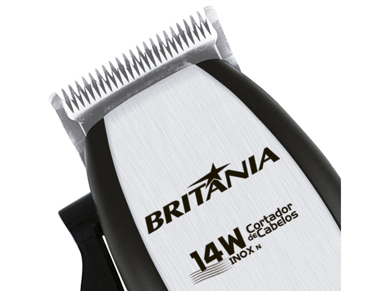 Máquina de Cortar Cabelo Britânia Inox 4 pentes Preto/Prata - 110 V - 9