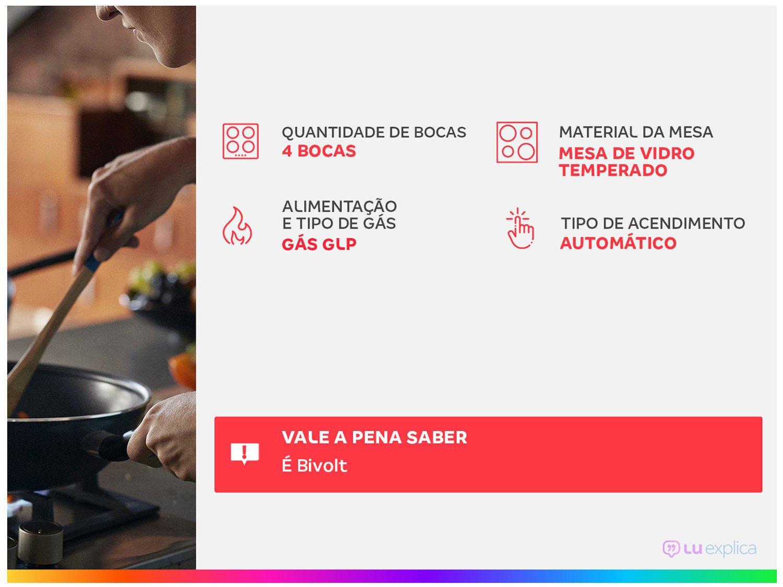 Cooktop a Gás Philco 4 Bocas Chef Bisote 4 Bivolt – Preto - 3