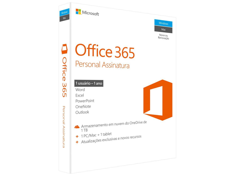 Foto 1 - Microsoft Office 365 Personal - 1TB de Armazenamento Válidos por 1 Ano