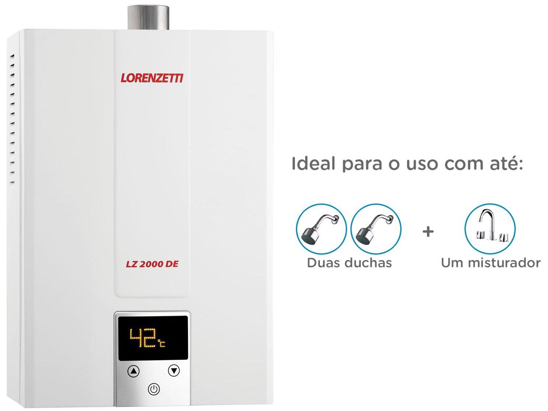 Foto 2 - Aquecedor de Água à Gás Lorenzetti - Eletrônico Digital LZ 2000DE GN Vazão 20,0 l/min
