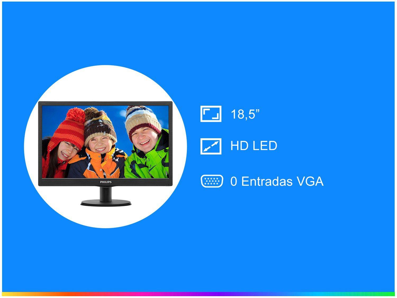 Foto 2 - Monitor Philips LED 18,5 HD Widescreen - 193V5LSB2