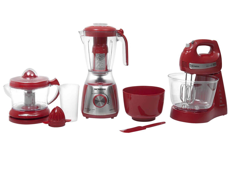 Kit Mondial Gourmet Red Premium Inox: Batedeira + Liquidificador + Espremedor de Frutas - Vermelho/Inox - 110v