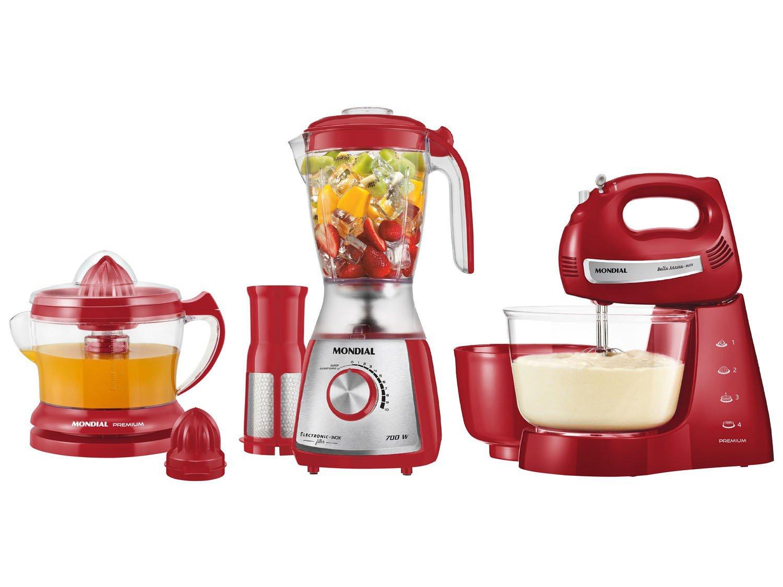 Kit Mondial Gourmet Red Premium Inox: Batedeira + Liquidificador + Espremedor de Frutas - Vermelho/Inox - 110v - 4
