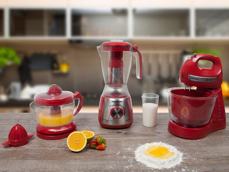 Kit Mondial Gourmet Red Premium Inox: Batedeira + Liquidificador + Espremedor de Frutas - Vermelho/Inox - 110v - 8
