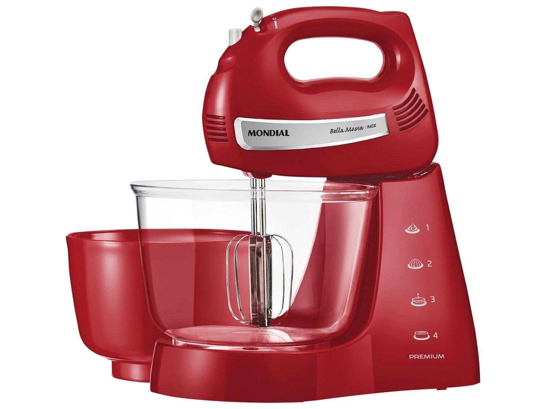 Kit Mondial Gourmet Red Premium Inox: Batedeira + Liquidificador + Espremedor de Frutas - Vermelho/Inox - 110v - 12