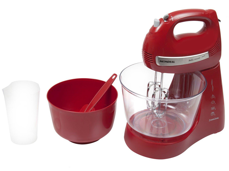 Kit Mondial Gourmet Red Premium Inox: Batedeira + Liquidificador + Espremedor de Frutas - Vermelho/Inox - 110v - 16