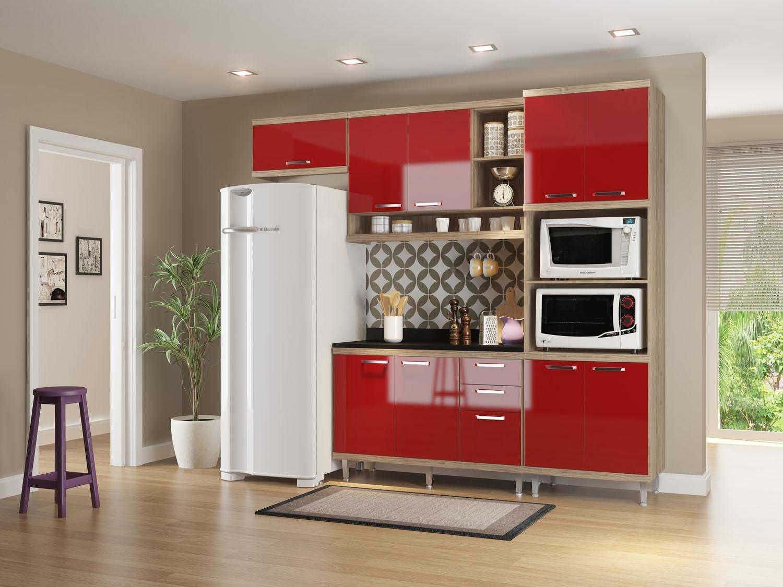 Foto 1 - Cozinha Compacta Multimóveis Linea Sicília - com Balcão Nicho para Forno ou Micro-ondas