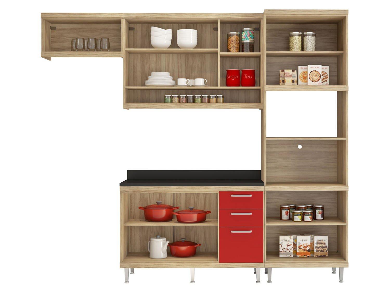Foto 3 - Cozinha Compacta Multimóveis Linea Sicília - com Balcão Nicho para Forno ou Micro-ondas