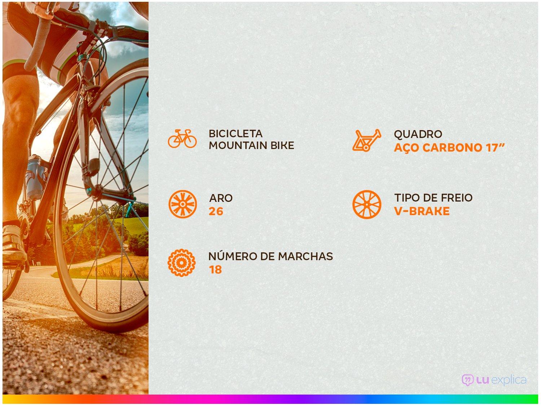 Foto 2 - Bicicleta Polimet 7134 Aro 26 18 Marchas - Freio V-Brake