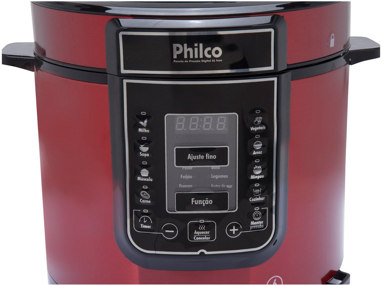 Panela Elétrica de Pressão Philco PPPV Digital 6 Litros Inox Red – Vermelho - 110V - 7