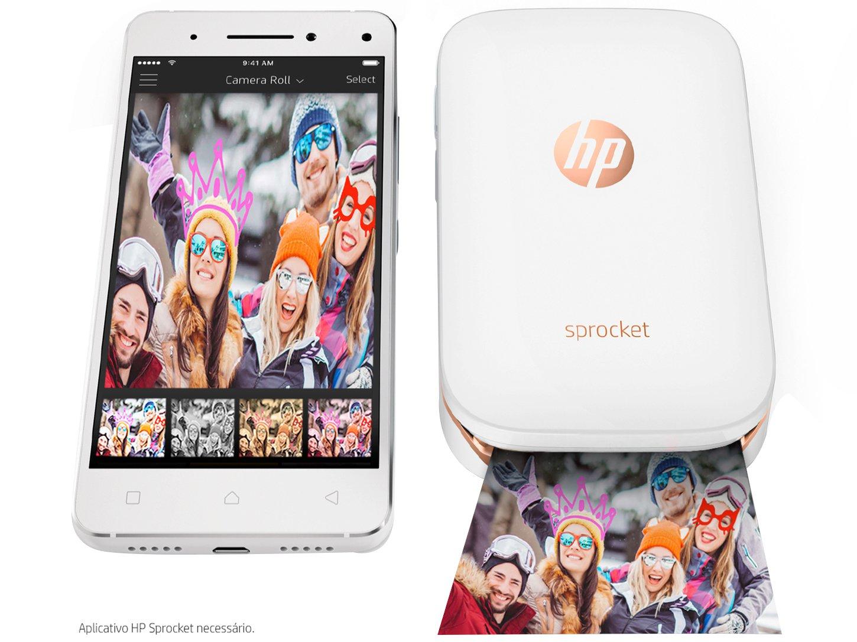 Foto 3 - Impressora Fotográfica para Smartphone HP - Sprocket 100 Colorida Wi-Fi