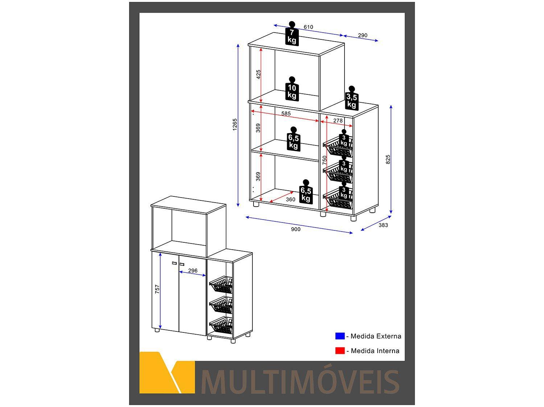Foto 4 - Balcão Multimóveis 2 Portas Nicho para Micro-ondas - 2531.0002