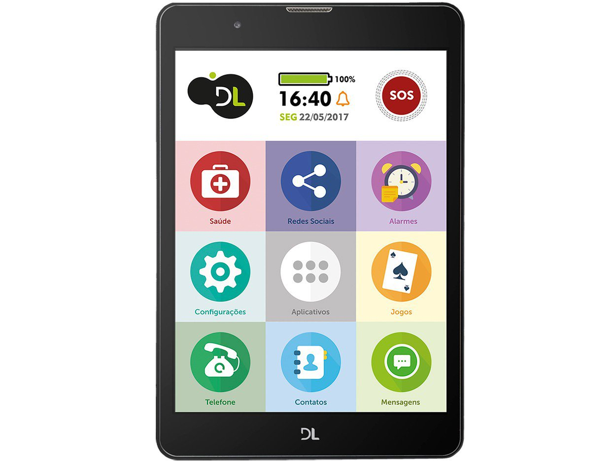 Foto 2 - Tablet DL TabFácil 8GB 7,85 3G e Wi-Fi - Android 7 Nougat Proc. Quad Core