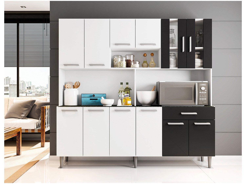 Foto 1 - Cozinha Compacta Poliman Clara com Balcão - Nicho para Micro-ondas 12 Portas 1 Gaveta