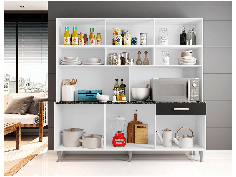 Foto 2 - Cozinha Compacta Poliman Clara com Balcão - Nicho para Micro-ondas 12 Portas 1 Gaveta