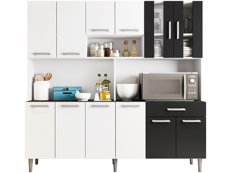 Foto 3 - Cozinha Compacta Poliman Clara com Balcão - Nicho para Micro-ondas 12 Portas 1 Gaveta