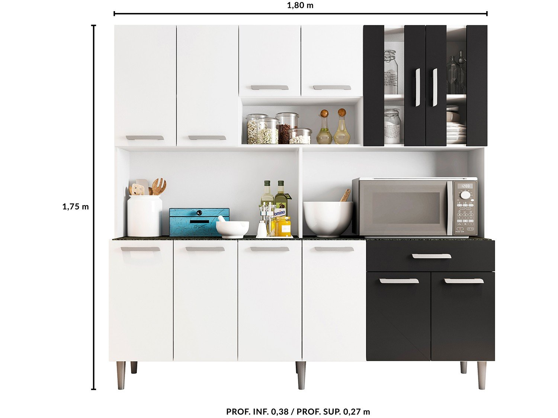 Foto 4 - Cozinha Compacta Poliman Clara com Balcão - Nicho para Micro-ondas 12 Portas 1 Gaveta