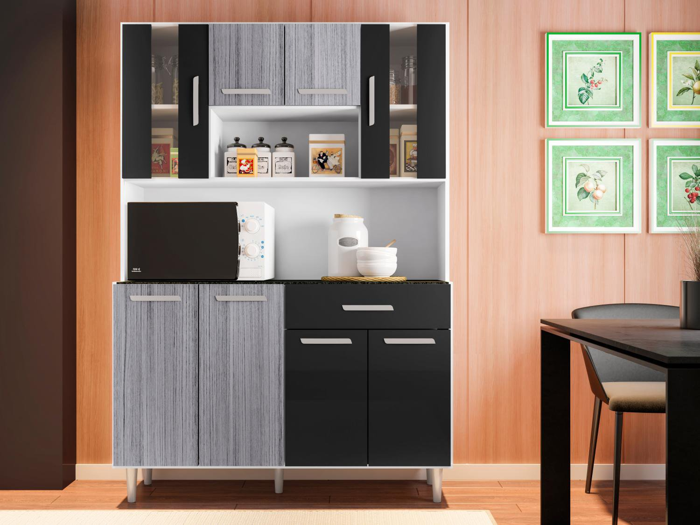 Foto 1 - Cozinha Compacta Poliman Gabi com Balcão - Nicho para Micro-ondas 8 Portas 1 Gaveta