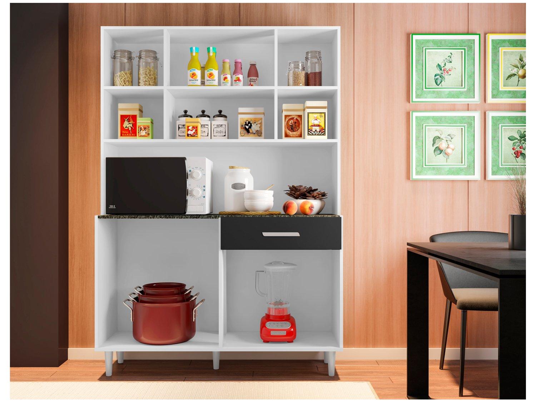 Foto 3 - Cozinha Compacta Poliman Gabi com Balcão - Nicho para Micro-ondas 8 Portas 1 Gaveta