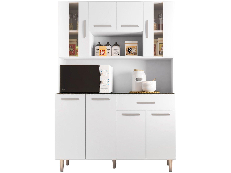 Foto 2 - Cozinha Compacta Poliman Gabi com Balcão - Nicho para Micro-ondas 8 Portas 1 Gaveta