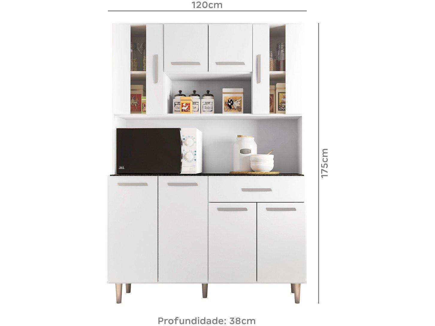 Foto 4 - Cozinha Compacta Poliman Gabi com Balcão - Nicho para Micro-ondas 8 Portas 1 Gaveta